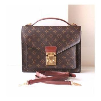 PEAPYD9 Louis Vuitton monogram monceau bag brown authentic vintage handbag purse