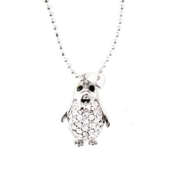 Dorky Baby Penguin Shaped Pendant Necklace in Silver