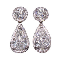 Elegant GIA certified Round and Pear Shape Dangle Earrings