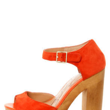 Kelsi Dagger Wynette Orange Suede Wooden Platform Sandals
