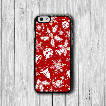 Ring And Bell Red Festival Pattern Christmas Gift iPhone 6 Cover, Lovely iPhone 6 Plus, iPhone 5 5S 4 4S Hard Case, Rubber Deco Accessories