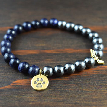 Opposites Attract! Unisex Paw Print & Angel Wing Bracelet. Hematite and Blue Goldstone Bracelet. Yoga Bracelet. Lotus and Lava Bracelet.