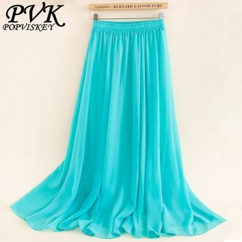 Women Long Pleated Skirts Fshion Casual Beach Chiffon Skirt for woman Europe America style Summer Skirts