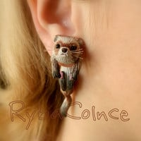 Fake ear gauges - Faux gauge/Gauge earrings/plug/fake piercing The Ferret