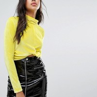 Boohoo Knot Front High Neck Velvet Top at asos.com
