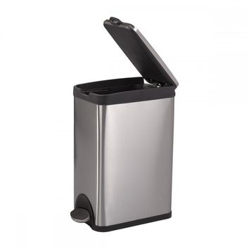 BestOffice 4 Gallon/ 15L Step Stainless-Steel Trash Can Kitchen S15