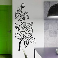 Wall Decals Rose Flower Decal Floral Vinyl Sticker Pattern Bedroom Decor Living Room Home Art Mural OS113