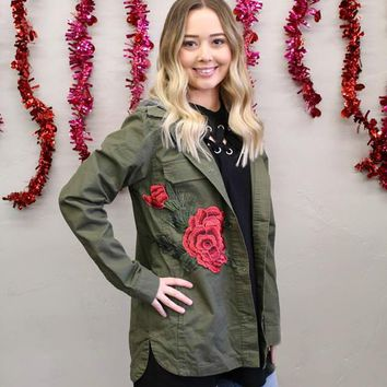 Olive Military Jacket with Embroidered Rose