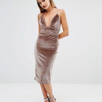 Boohoo Plunge Neck Velvet Midi Dress at asos.com