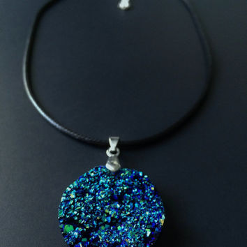 Blue Druzy Pendant, Crystal Jewelry, Druzy Choker, Faux Druzy, Blue Crystal, Alternative Jewelry, Grunge Jewelry, Blue Druzy, Black Choker
