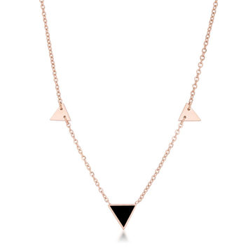 Rose Gold & Black Triangle Necklace