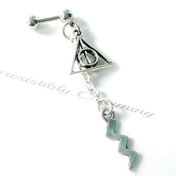 316L Surgical Steel 16g, 16 gauge Harry Potter Deathly Hallows and lightning bolt Helix, cartilage, tragus earring