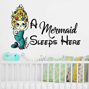 A Mermaid Sleeps Here Wall Decals Quote Full Color Mermaid Colorful Girls Vinyl Decal Stickers Nautical Wall Decor for Girls Bedroom NS2017 (16x22)