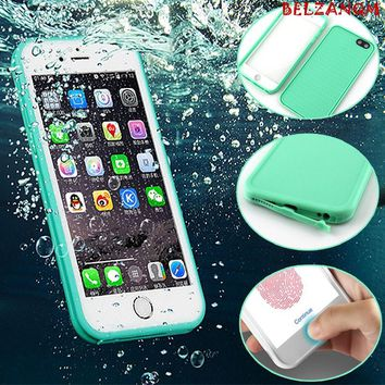 Luxury 360 WaterProof Case For iPhone 6 6s 8 Plus 5 5S 5SE TPU+PC Waterproof Screen Touch Phone Cover for iphone X 7 7 Plus Capa