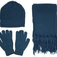 Winter Knitted Winter Set - Beanie, Gloves and Scarf, Steel Blue