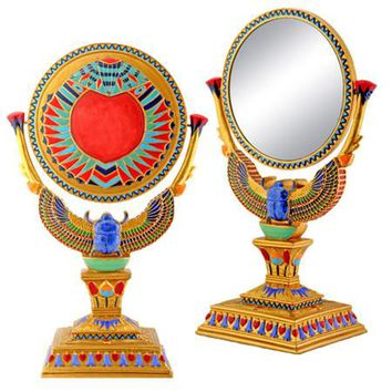 Winged Scarab Egyptian Table Mirror - 6266