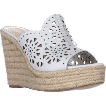 Nine West Derek Wedge Scalloped Sandals, White, 11 US