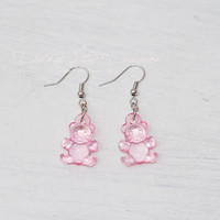 ABDL DDLG Cute Teddy Bear Pierced Earrings Daddy's Little Girl Princess Gummy Clear Dangle Lolita Baby Sissy Sub Master BDSM Jewelry Kawaii