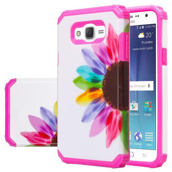 Galaxy J7 Case, Samsung Galaxy J7 [Shock Absorption /Impact Resistant] Hybrid Dual Layer Armor Defender Protective Case Cover for Galaxy J7 (Boost Mobile,Virgin,MetroPcs,TMobile), Sun Flower