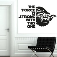 Wall Decals Quote Yoda The Force Is Star Wars Decal Vinyl Sticker Home Decor Interior Design Nursery Baby Room Decor Art Murals Ms721