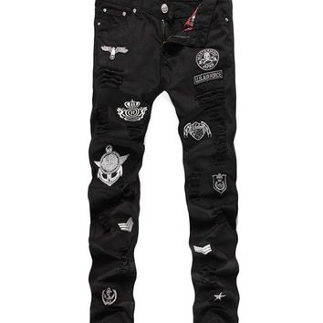 Casual Skull Ripped Jeans Men Cotton Straight Black Skinny