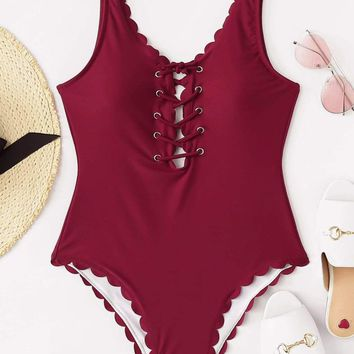 Grommet Lace Up Scalloped One Piece Swimsuit
