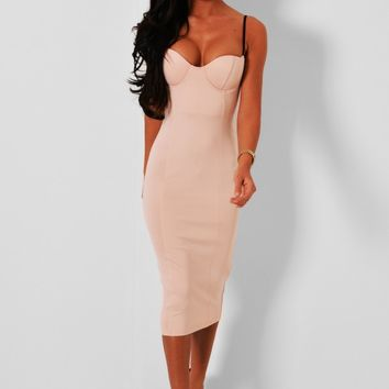 Arion Nude Bodycon Midi Dress | Pink Boutique