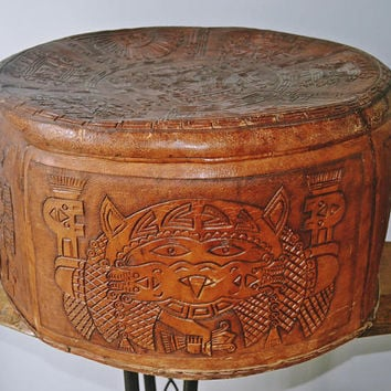 Vintage Peruvian Leather Ottoman, Hand Tooled Leather Storage Tote