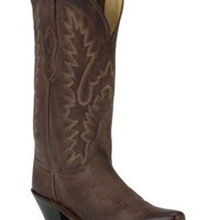 Old West Ladies Classic Chocolate Mad Dog Snip Toe Western Boot