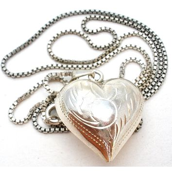 Puffed Pendant Heart Necklace Sterling Silver