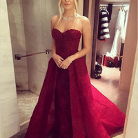 Sweetheart Burgundy A-Line Prom Dresses,Prom Dress