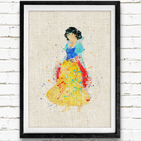 Snow White Disney Watercolor Art Print, Princess Wall Poster, Baby Room, Gift, Nursery Wall Art, Home Decor Not Framed, Buy 2 Get 1 Free!