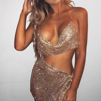 Here to Party Crystal Metallic Rhinestone Mesh Sleeveless Spaghetti Strap Cowl Neck Backless Crop Top Side Slit Mini Two Piece Dress - 2 Colors Available