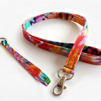 Tie Dye Lanyard Set / Hippie Lanyard / Colorful Keychain / Bohemian / Key Lanyard / Badge Holder / Psychedelic / 60s / ID Lanyard / Key Fob