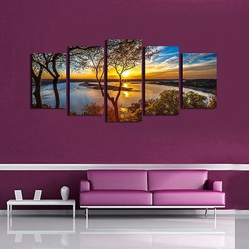 5PCS Ocean Unframed Landscape Modern Canvas Wall Art Oil Print Painting Living Room Home Decor