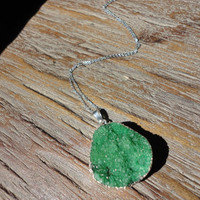 Emerald Green Druzy Silver Pendant Necklace