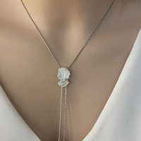 Antique Cameo Necklace, Cameo Lariat Y Necklace, Unique Bridal Jewellery-Shell Jewelry-Beach Wedding Necklace Jewelry, Gift for Bride