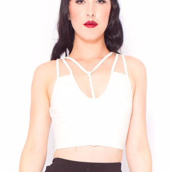 Harnessed Crop in White