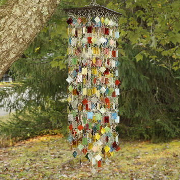 Stained Glass - Colored Glass - Wind Chimes - Sun Catcher - OOAK - CaRnIvAl