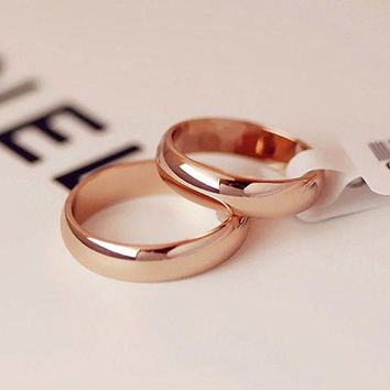 VONG2W Simple Round Men Rings female Rose Gold color wedding rings for women Lover's fashion Jewelry anel bijoux Gift
