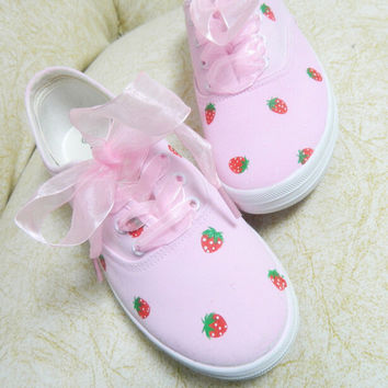 strawberry hand-painted canvas shoes