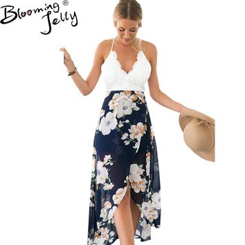 Blooming Jelly Backless Floral Print Chiffon Dress Sexy V Neck Crochet High Low Beach Dress Summer Girl Casual Long Maxi Dresses