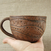 Hand Made Ceramic Eco-Friendly Tea Cup,Milk Fired, Hand Carved