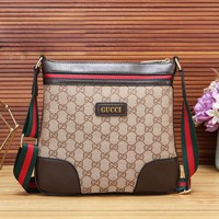 GUCCI New fashion stripe more letter couple business casual shoulder bag Khaki