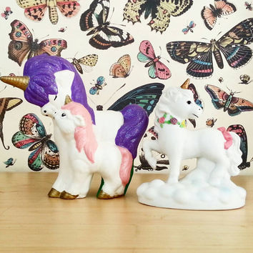 Unicorn- Shabby Chic Decor- Vintage Figurine- Room Decor- Home Decor- Boho Decor- Collectible- Unicorn Lot-  Dorm Decor- Bohemian- Ceramic