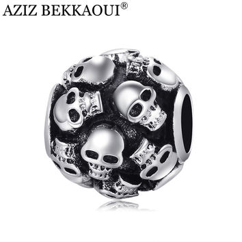 Skull beads charm fit european pandora diy bracelet necklace big hole loose beads Unique full cranial head beads fine jewelry
