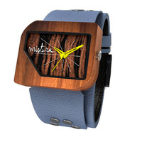 Mistura Pellicano Wooden Unisex Watch Grey Leather Band Ebony Wood Dial