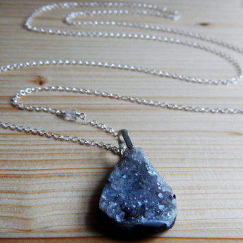 Quartz Druzy and Sterling Silver Necklace, Long Pendant Necklace 33 Inches Drusy Jewelry Polished Agate Geode Bohemian Statement Necklace