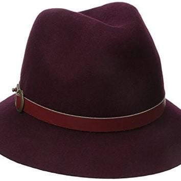 Genie by Eugenia Kim Women's Jordan Wool Felt Fedora Hat with Vegan Leather Belt, Wine