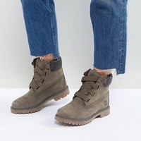 Timberland Convenience Canteen Khaki Flat Leather Ankle Boots at asos.com